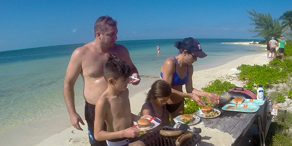 Crystal Charters Cayman Family BBQ on the Beach